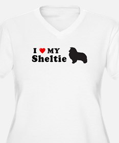 SHELTIE Womes Plus-Size V-Neck T-Shirt