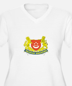 SINGAPOUR Womes Plus-Size V-Neck T-Shirt