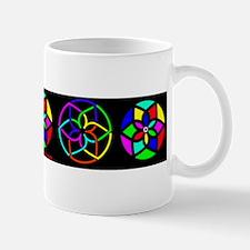 Multi Color Suns on black Mug