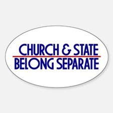 Church & State Belong Separat Oval Decal
