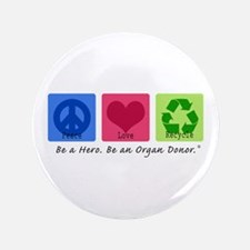 "Peace Love Recycle 3.5"" Button (100 pack)"