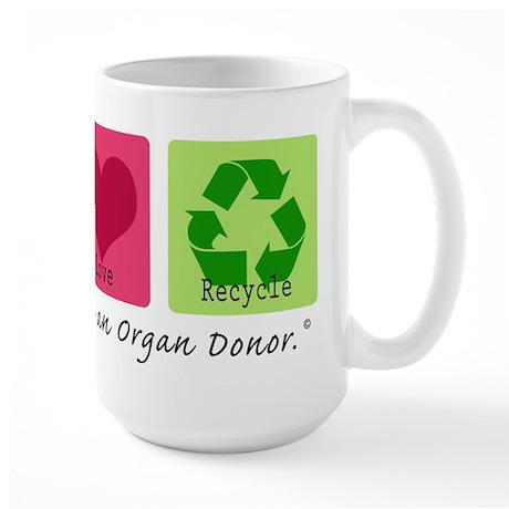 Peace Love Recycle Large Mug