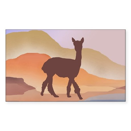 Mountain Mirage Alpaca Rectangle Sticker
