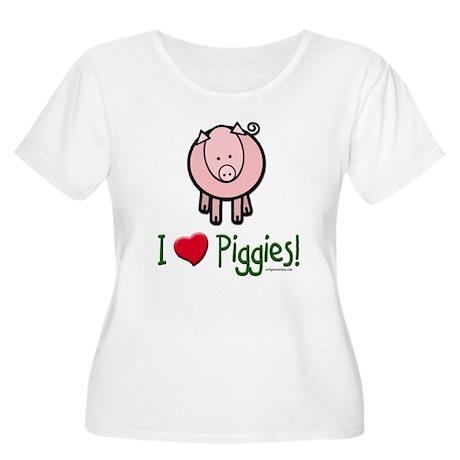 I heart piggies Women's Plus Size Scoop Neck T-Shi