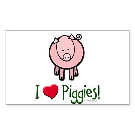 I heart piggies Rectangle Sticker