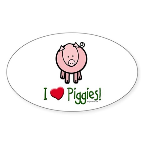 I heart piggies Oval Sticker