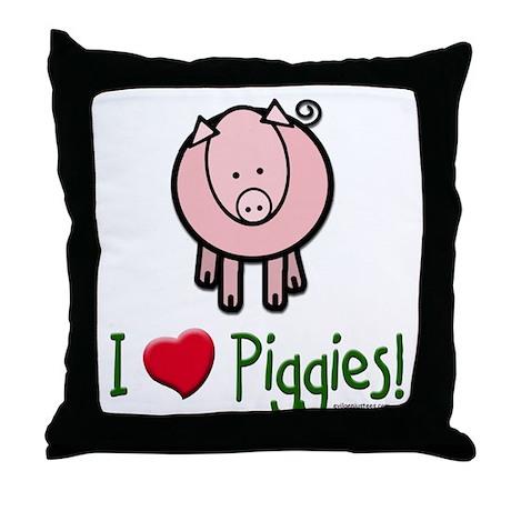 I heart piggies Throw Pillow