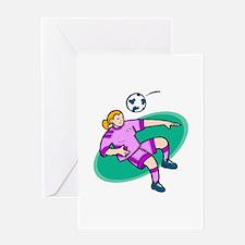 Soccer girl - purple Greeting Card