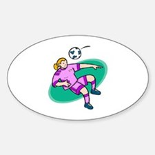 Soccer girl - purple Oval Decal