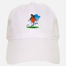 Kicking Soccer Girl Baseball Baseball Cap