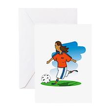 Kicking Soccer Girl Greeting Card