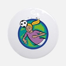 Soccer Girl Header Ornament (Round)