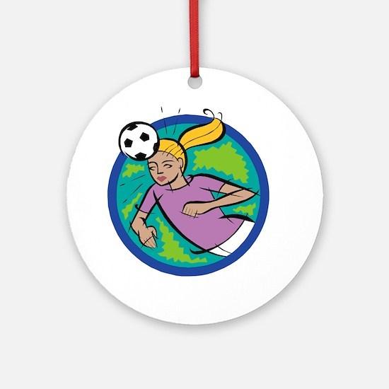 Soccer Girl Header Ornament (Round)