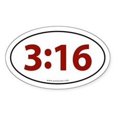John 3:16 Euro Bumper Oval Sticker -Red Letter