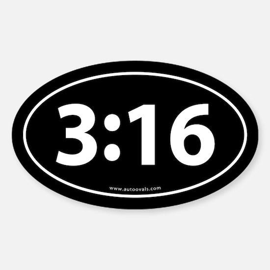 John 3:16 Euro Bumper Oval Sticker -Black