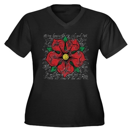 Red Rose Women's Plus Size V-Neck Dark T-Shirt