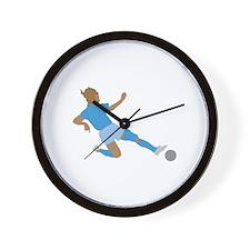 Pink Soccer Girls Wall Clock