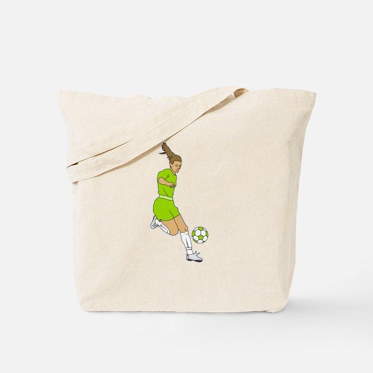 Lime Green Soccer Girl Tote Bag