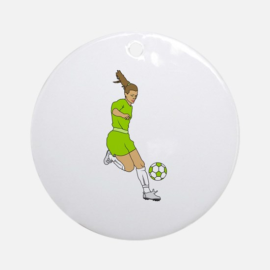 Lime Green Soccer Girl Ornament (Round)