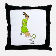 Lime Green Soccer Girl Throw Pillow