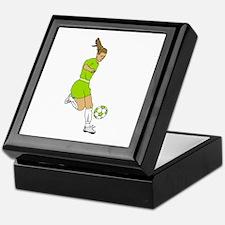 Lime Green Soccer Girl Keepsake Box