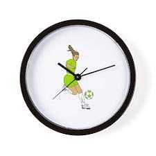 Lime Green Soccer Girl Wall Clock