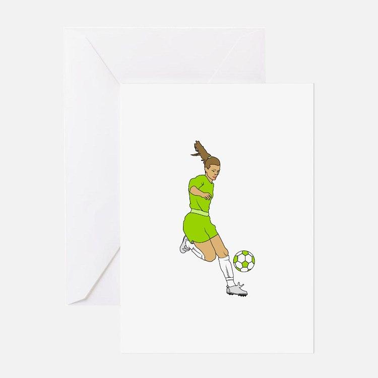 Lime Green Soccer Girl Greeting Card
