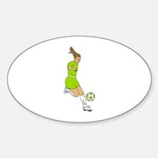 Lime Green Soccer Girl Oval Decal