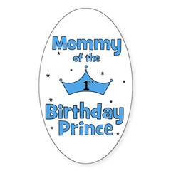 Mommy of the 1st Birthday Pri Oval Decal