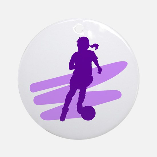 Purple Soccer Girl Ornament (Round)