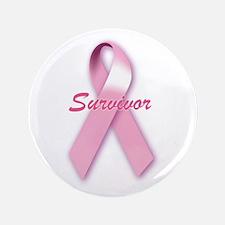 "Breast Cancer Survivor Ribbon 3.5"" Button"