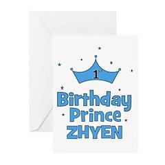 1st Birthday Prince Zhyen! Greeting Cards (Pk of 1