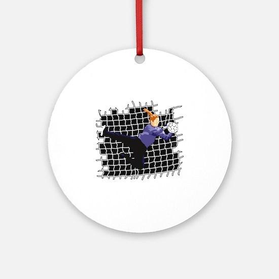 Soccer Girl Goalie Ornament (Round)