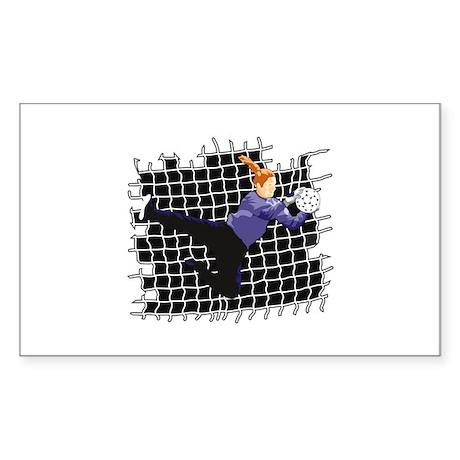 Soccer Girl Goalie Rectangle Sticker