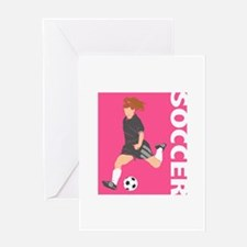 Pink Soccer Girl Logo Greeting Card