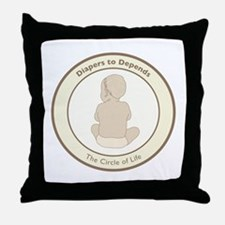 """""""Diapers to Depends"""" Throw Pillow"""