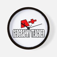 """""""A+ Geography Teacher"""" Wall Clock"""