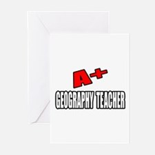 """""""A+ Geography Teacher"""" Greeting Cards (Pk of 20)"""