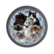 7 Kitties Wall Clock