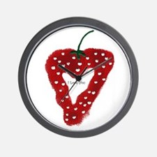 Strawberry Heart Wall Clock