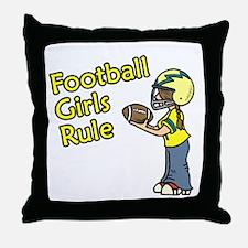 Football Girls Rule Throw Pillow