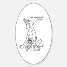 Great Dane w/ Baby Drool Oval Decal