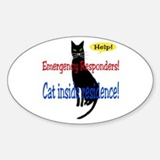 Single Cat Alert Oval Decal