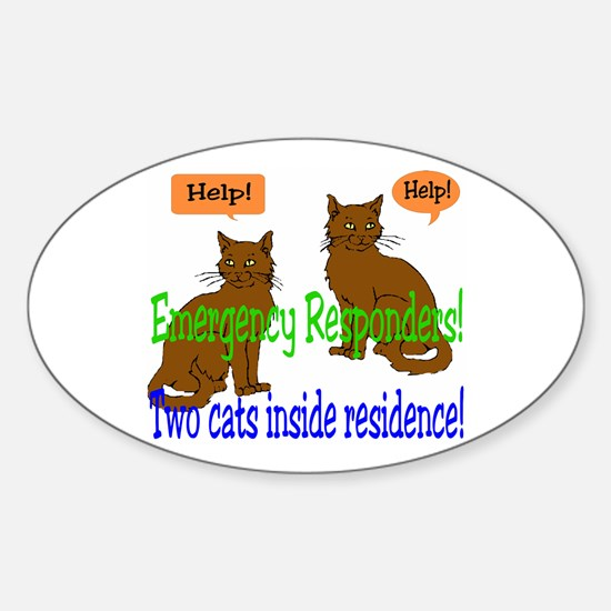 Two Cat Alert Oval Decal