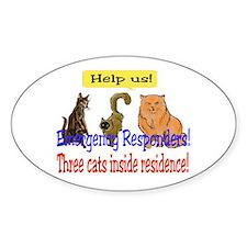 Three Cat Alert Oval Decal