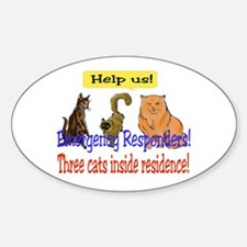Three Cat Alert Oval Decal