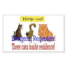 Three Cat Alert Rectangle Decal