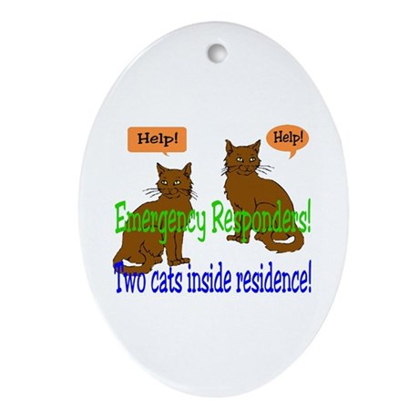 Two Cat Alert Oval Ornament