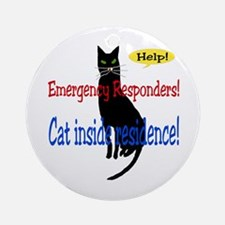 Single Cat Alert Ornament (Round)