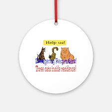 Three Cat Alert Ornament (Round)